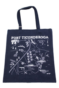 navy blue bag with white map image on front