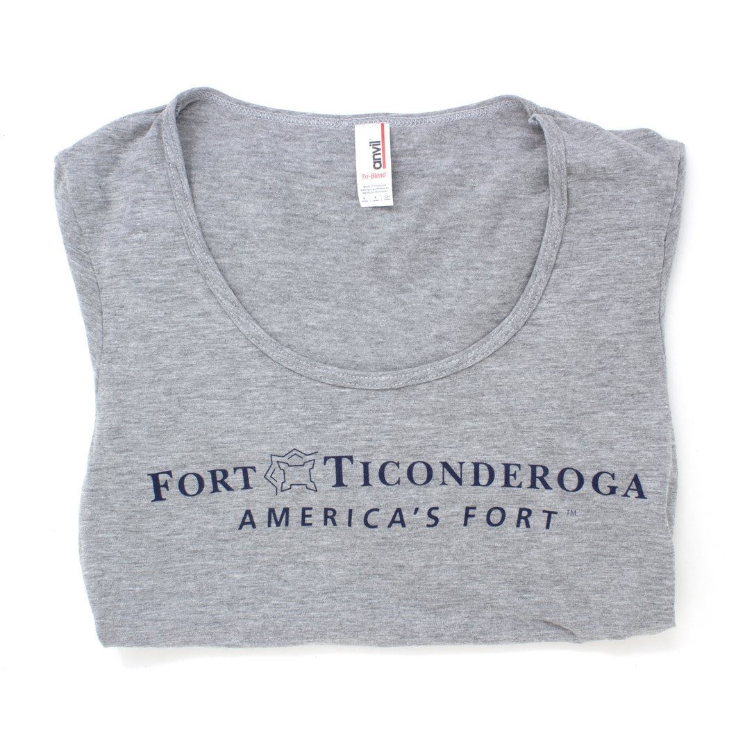 Ladies Gray Deep Scoop Neck Fort Ticonderoga T-Shirt