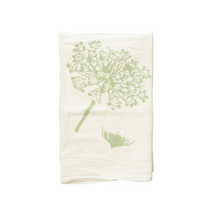 cream colored canvas tea towel with green print of queen anne's lace