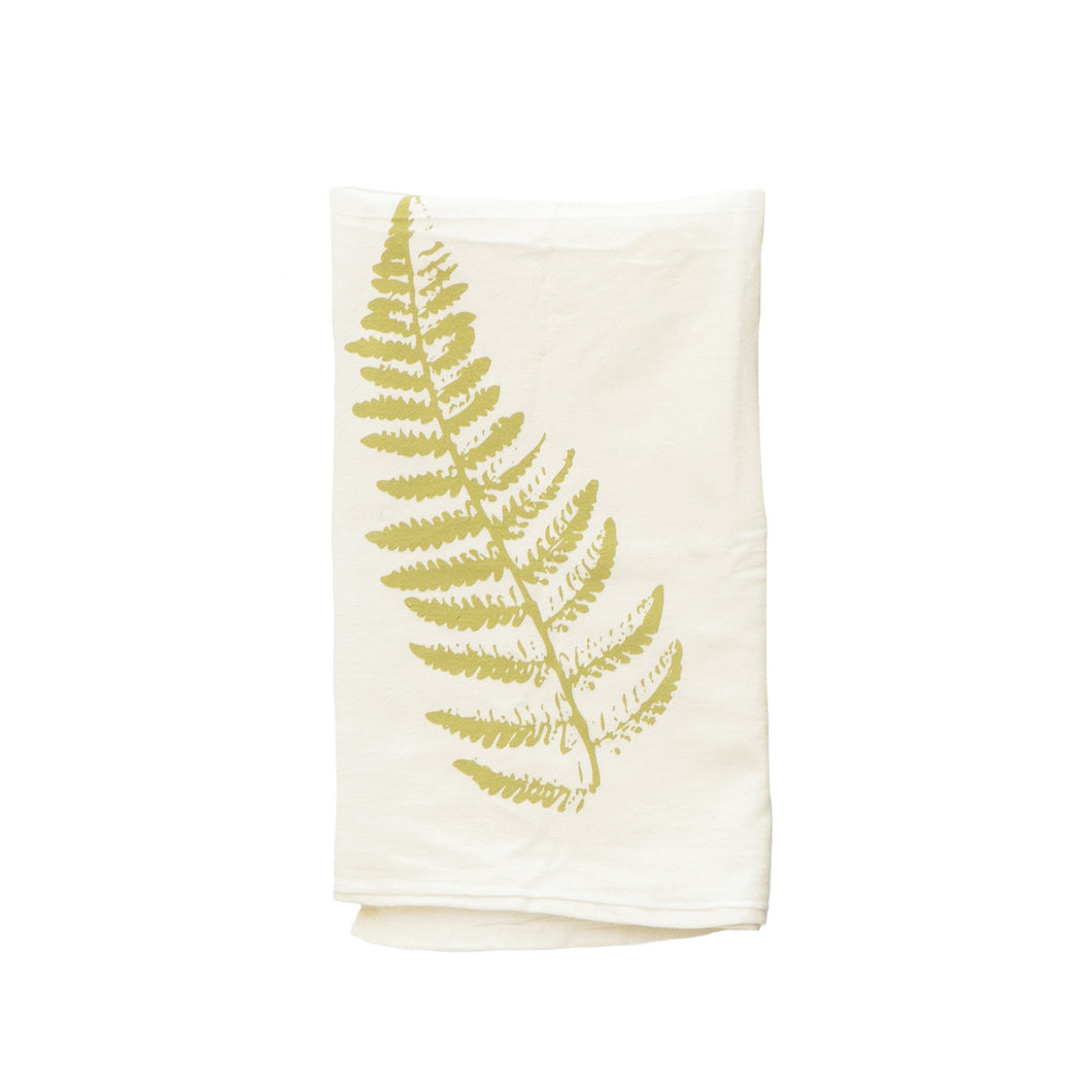 light green printed fern leaf on natural canvas tea towel