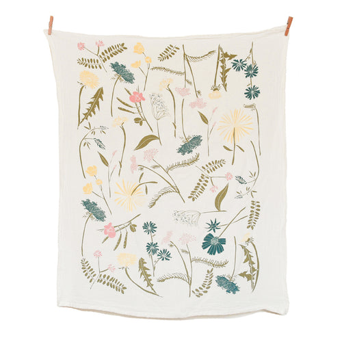 cream colored canvas tea towel with blue, pink, green, and yellow flowers