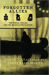 "book cover with canoe silhouette and title ""forgotten allies"""