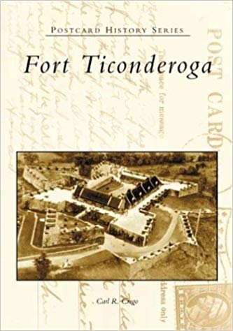 book cover with aerial photo of fort and title on postcard background