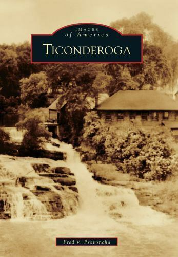 historical image of falls in Ticonderoga with title