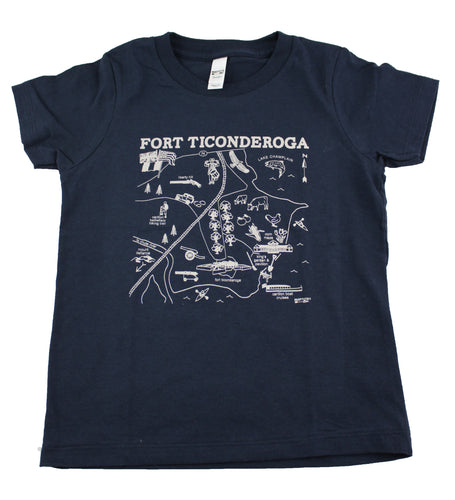 navy blue tee shirt with map image in center