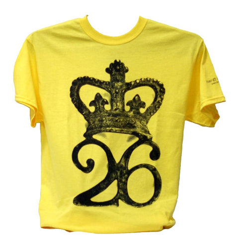 yellow t-shirt with black 26th regiment design