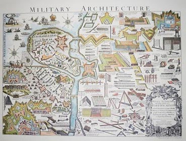 print of map with military tools and structures