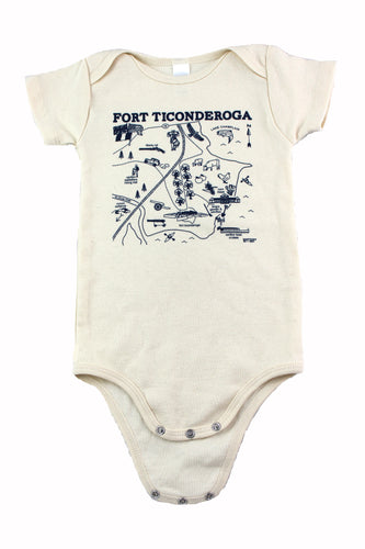 natural cream colored onesie with blue map image