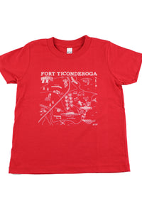 red tee shirt with map image in center