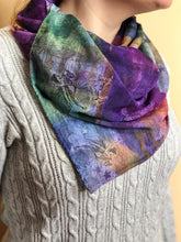 Load image into Gallery viewer, model wearing scarf that is yellow, purple, green, and white