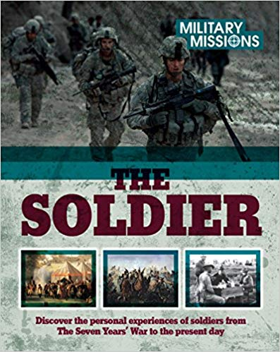 Book cover with images of modern-day soldiers and other historical images