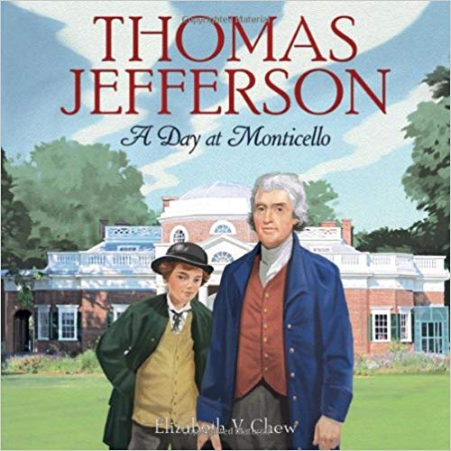 Cartoon depiction of Jefferson, young boy, and Monticello in the background