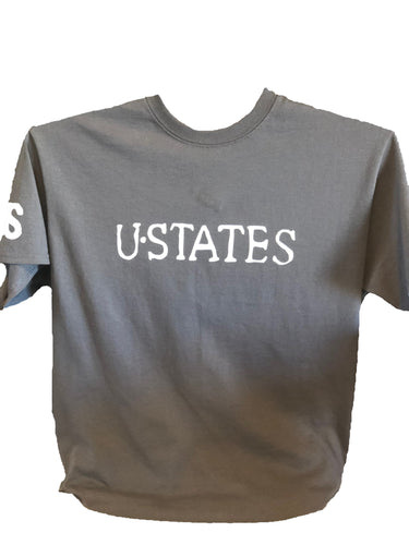 Grey t-shirt with white USTATES text