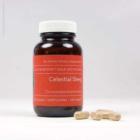 Bottle of Celestial Sleep herbal supplement from Julie Bear Don't Walk Apothecary — natural support for insomnia