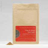 Packet of Clear and Move Foot Soak herbal formula from Julie Bear Don't Walk Apothecary — natural support for peripheral neuropathy and foot pain