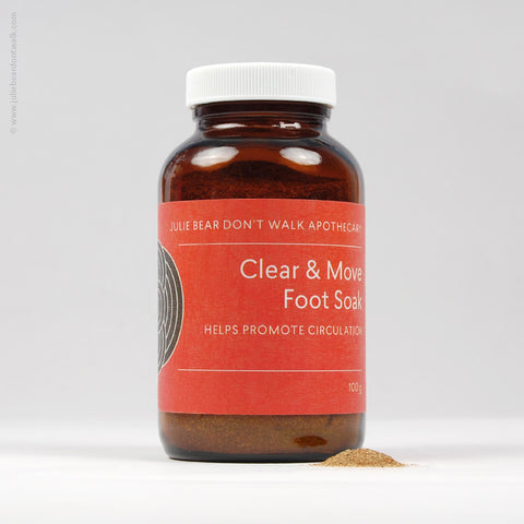 Bottle of Clear and Move Foot Soak herbal formula from Julie Bear Don't Walk Apothecary — natural support for peripheral neuropathy and foot pain