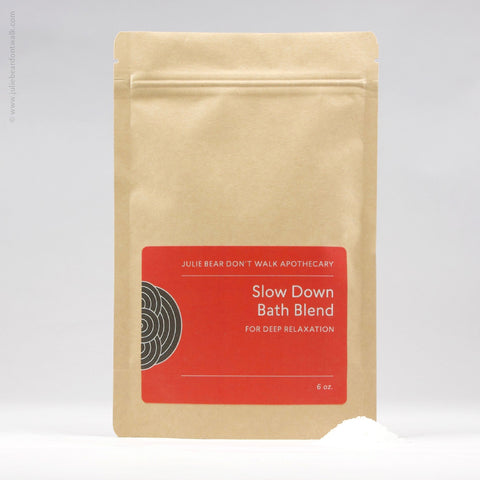 Packet of Slow Down Bath Blend herbal formula from Julie Bear Don't Walk Apothecary — natural relief for stress and muscle tightness