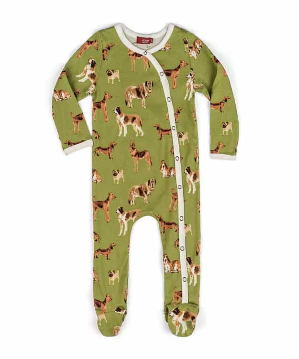 Footed Romper - Green Dog