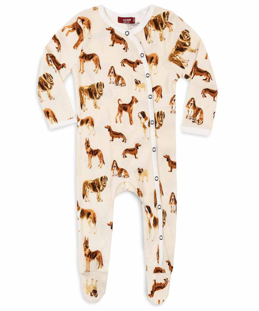 Footed Romper - Natural Dog