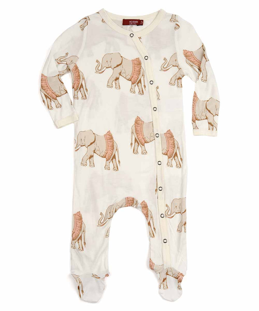 Footed Romper - Tutu Elephant