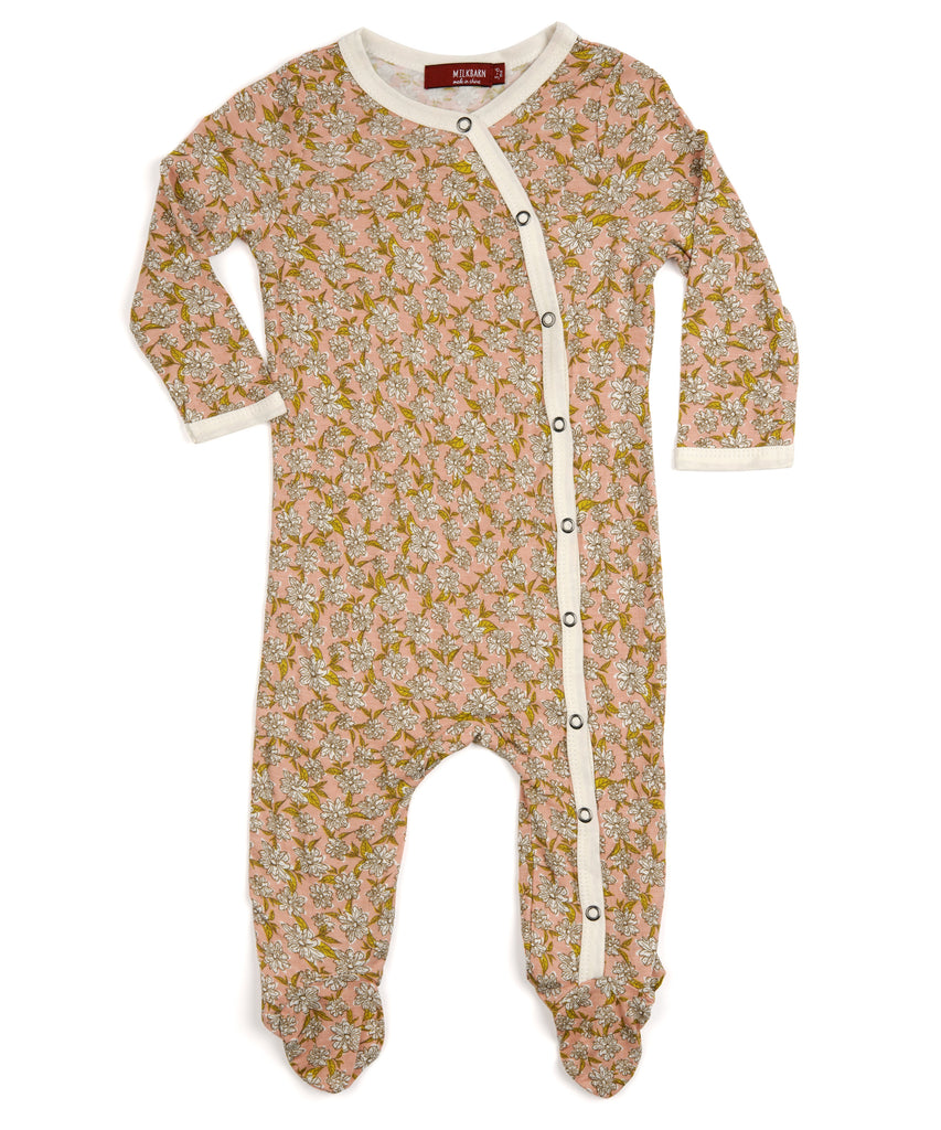 Footed Romper - Rose Floral