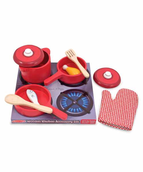 Wooden Kitchen Accessory Set - Pots & Pans