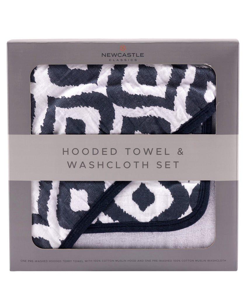 Hooded Towel & Washcloth Set - Moroccan Blue