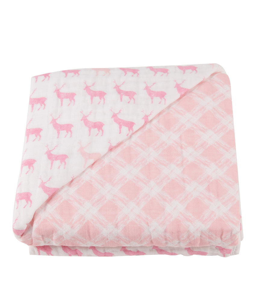 Newcastle Blanket - Pink Deer & Primrose Pink Plaid