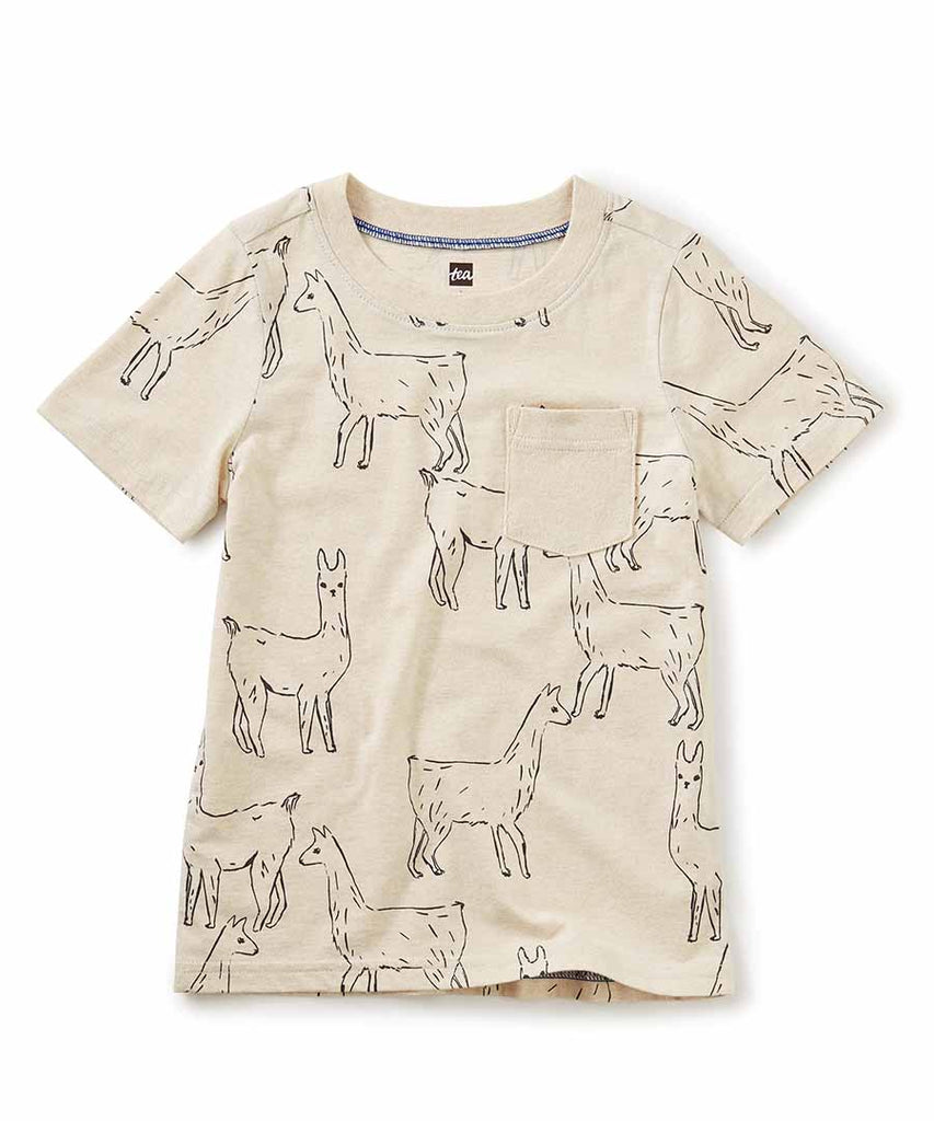 Printed Pocket Tee - Llama Love