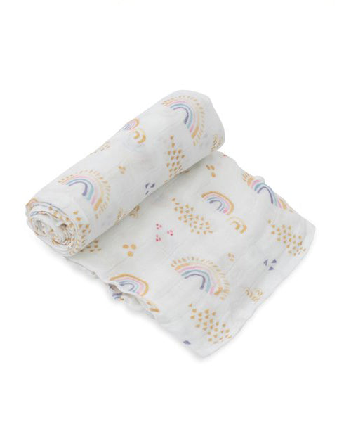 Deluxe Swaddle - Rainbows & Raindrops