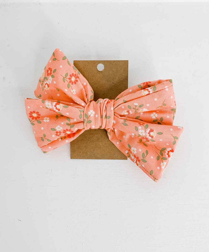 Cloth Pinwheel Bow - Peach Floral