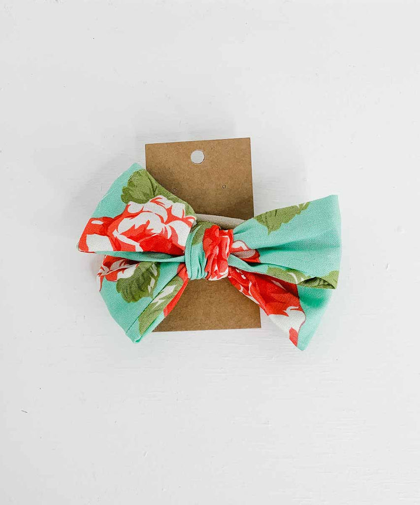 Cloth Pinwheel Bow - Teal Floral