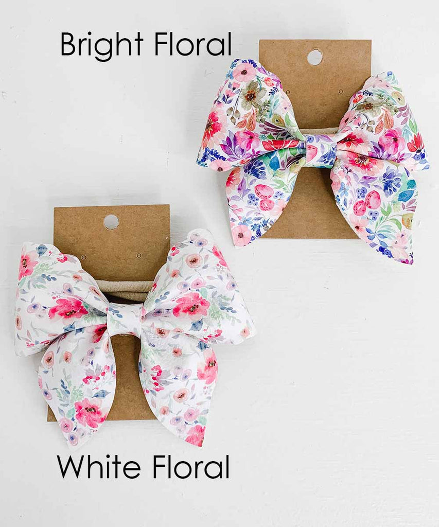 Vegan Leather Sailor Bow - Spring Floral