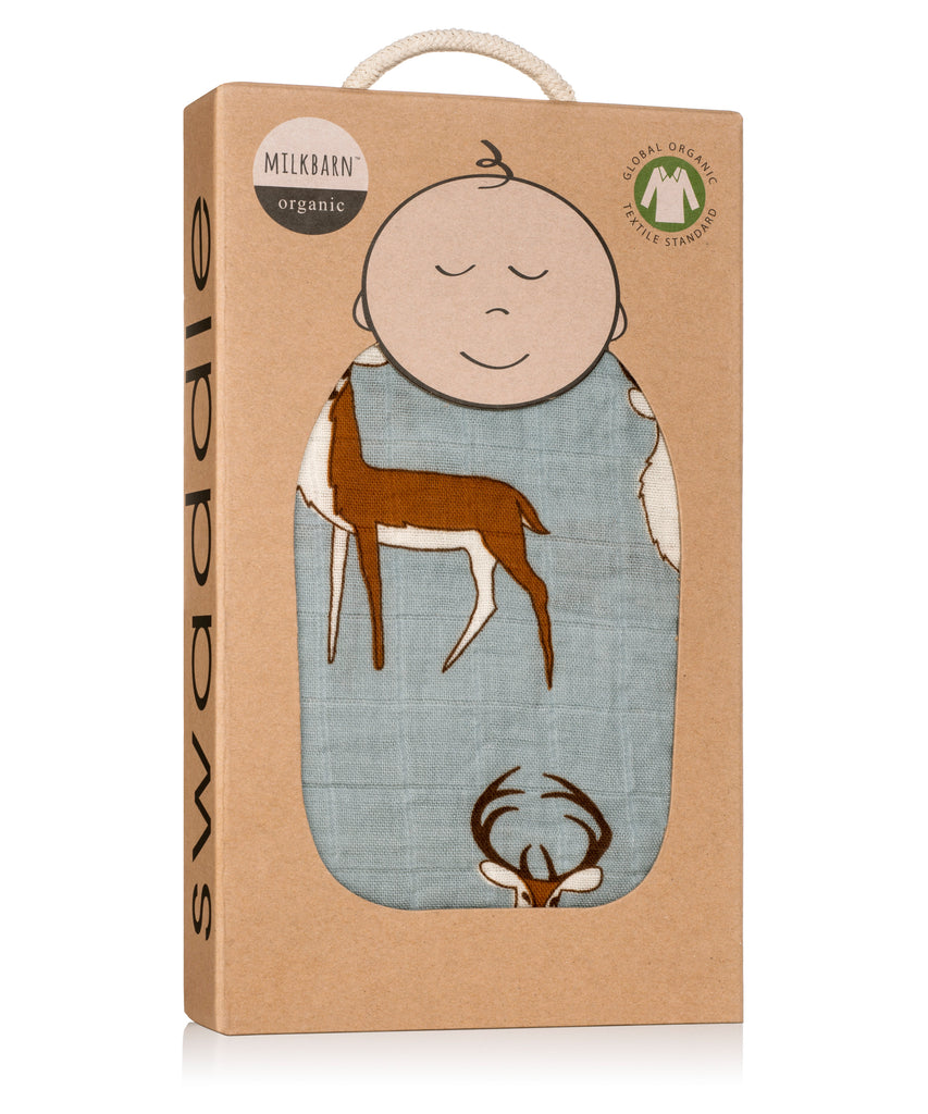 Cotton Swaddle - Blue Buck
