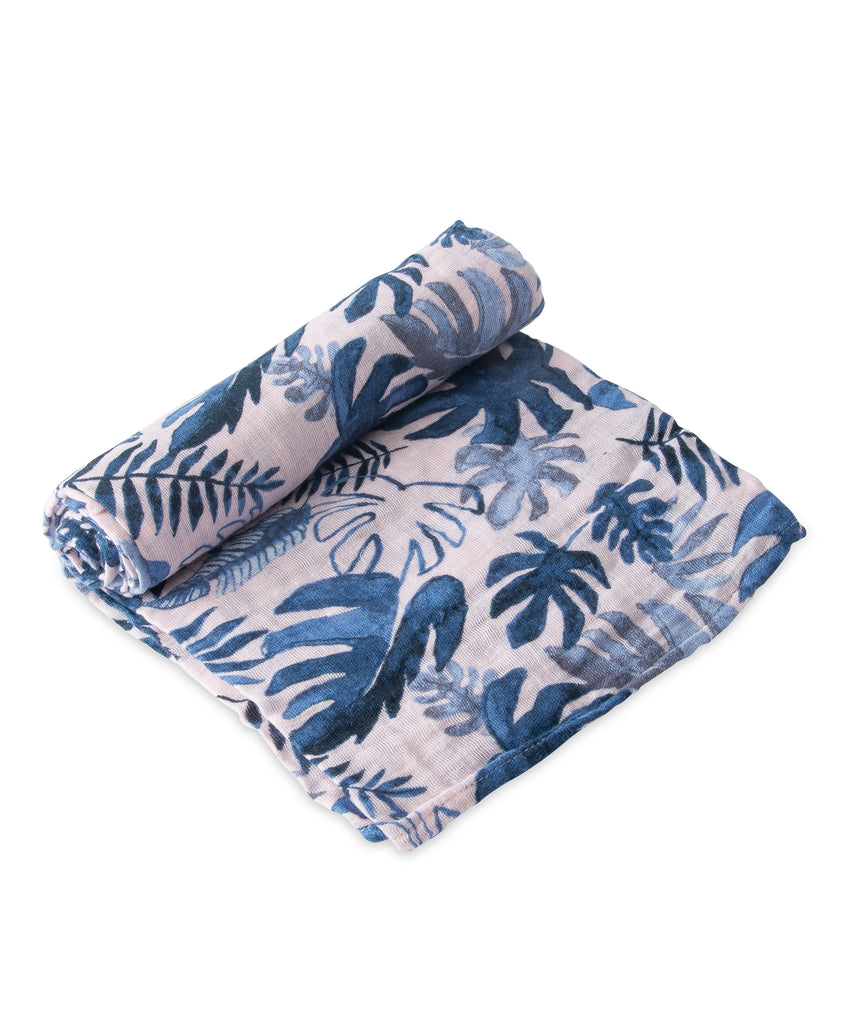 Cotton Swaddle - Tropical Pink Leaf