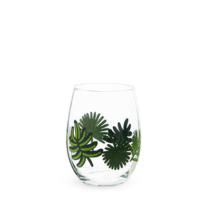 Palm Leaf Painted Glass - Wine Craft