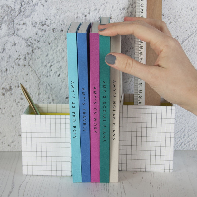 Set Of Five A5 Textured Cover Notebooks - And So They Made