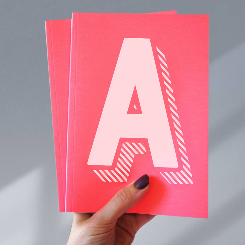 Vibrant Pink And White Initial Personalised Notebook
