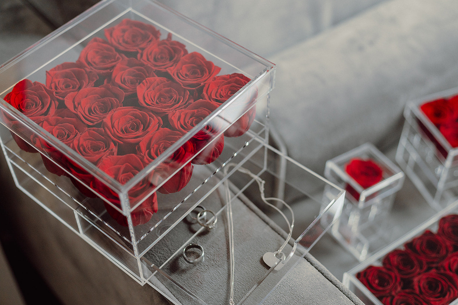 9 and 16 Rose Boxes with Drawer