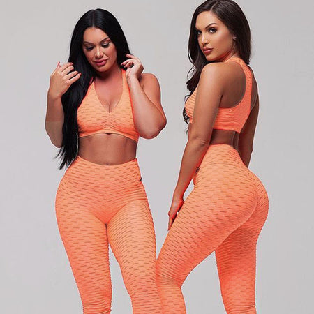 Two Piece Sport Suit Short Sleeve Crop Top + Leggings
