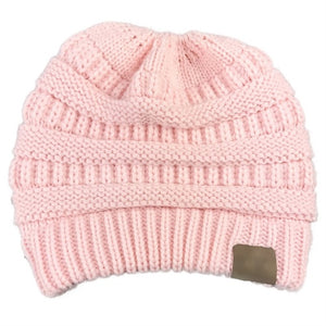 A Handmade Soft Knit Beanie That's PERFECT for Ponytails & Buns