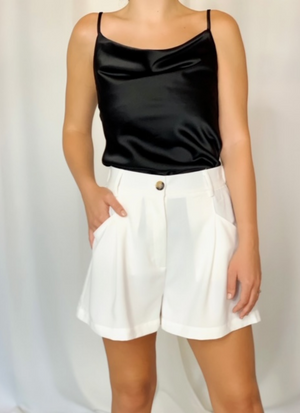 Pleat High Waisted Shorts (White)
