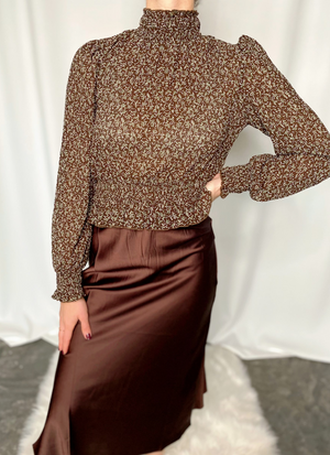 The Seva Mock Printed Brown Multi Smocked Top