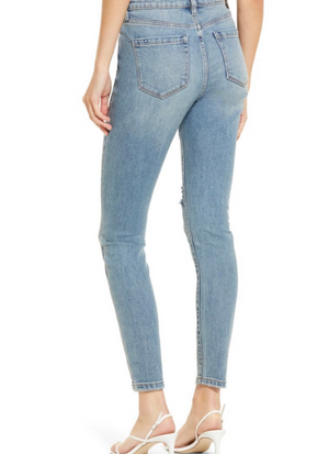 You're Welcome Blue Denim Distress Skinny Jeans
