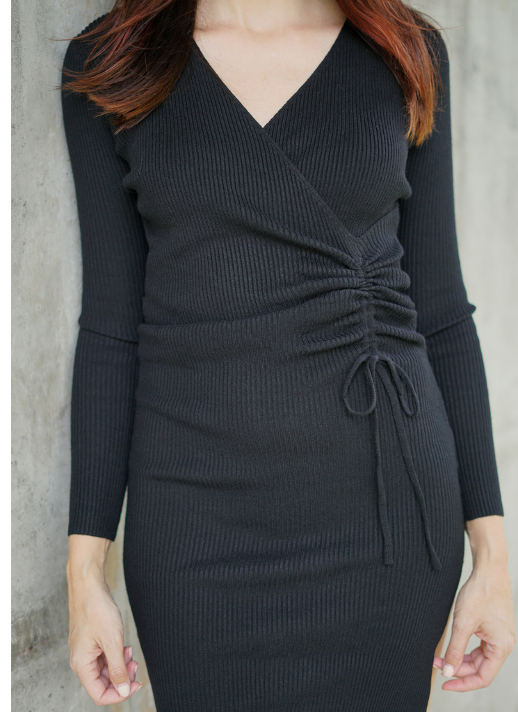Ribbed Black Long Sleeved Sweater Dress