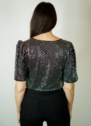 Silver Wrap Sparkle Sleeve Detail Top