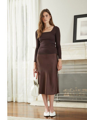 Etienne Bias Brown Satin Midi Skirt