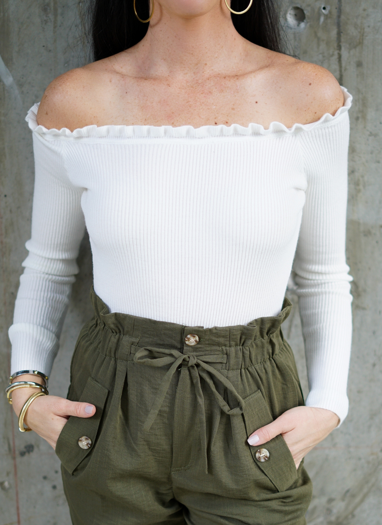 Raina Ribbed Ruffle Off The Shoulder Ivory Bodysuit