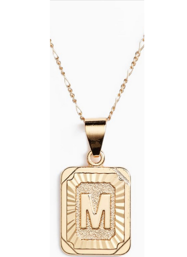 M Initial Gold Plated Necklace