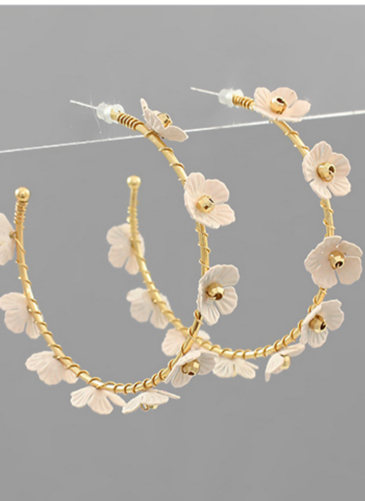 Floral Feel Delicate Ivory And Gold Hoops